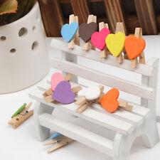 12PCS Chic Cuore stile In legno Foto Carta Pin Molletta da bucato Mestiere Clip