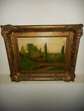 Antique  oil painting,{ Landscape with a cottage and a village, great frame! }.