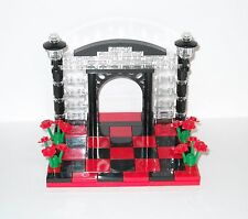 NEW CUSTOM LEGO RED & BLACK WEDDING CAKE TOPPER FOR BRIDE AND GROOM MINIFIGURES