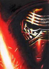 Original Signed Artist Sketch Card Star Wars Kylo Ren Lightsaber