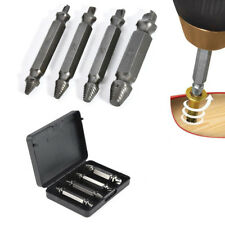 4pcs Remover Screw Extractor Drill Bits Kit Guide Broken Damaged Bolt Easy Out @