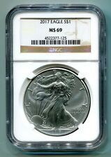 2017 AMERICAN SILVER EAGLE NGC MS69 CLASSIC BROWN LABEL AS SHOWN