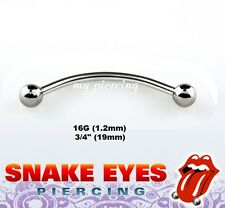 """1pc. 16G~3/4"""" 316L Surgical Steel Curved Barbell Tongue """"Snake-Eyes"""" Piercing"""