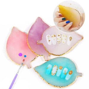 Nail Art Resin Leaf Shape Tips Display Board Palette Gel Polish Mix Stir Plate