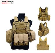 8 pcs Tactical Molle Steel Wire Vest Plate Carrier Armor Vest W/ Accessory Pouch