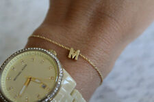 Initial Bracelet Gold - 14K Solid Gold Bracelet -Light and Elegant- 6mm Initial