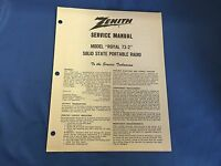"VINTAGE ZENITH SERVICE MANUAL MODEL ""ROYAL 73-2"" SOLID STATE PORTABLE RADIO"