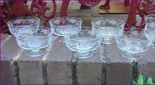 Vintage BOHEMIA Crystal Grape & Vine Footed Bowls Dessert Set for 6