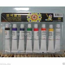 Non-Toxic Vivid Dye Textile Fabric Paint Tubes 8 Colors 7.5ml