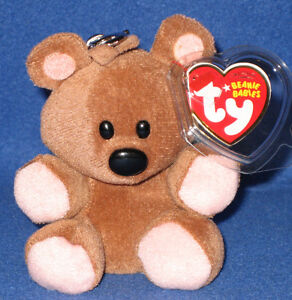 TY KEY CLIPS BEANIE BABY - POOKY THE BEAR (METAL KEY CLIP) - MINT with MINT TAGS
