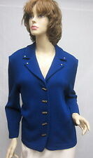 St John Knit COLLECTION Blue Gold Button JACKET SIZE 12