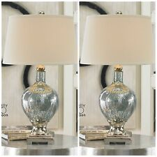 TWO RICH BLUE MERCURY GLASS TABLE LAMPS CHROME PLATED METAL ACCENT WHITE SHADES