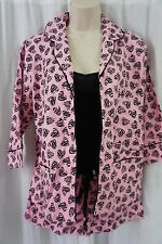 Jenni by Jennifer Moore Pajamas Sz S Pink Black Zebra Hearts 3 Piece Sleepwear