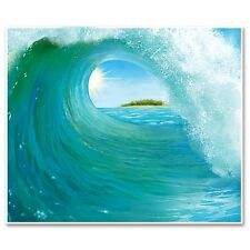 Luau BEACH Under the Sea GIANT SURF WAVE WALL MURAL Party Decoration PHOTO BOOTH