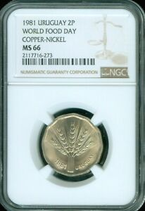 """1981 URUGUAY 2 NUEVOS PESOS """"WORLD FOOD DAY"""" NGC MS66 UNC COIN FINEST KNOWN"""