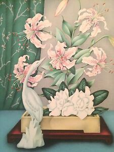 VINTAGE MID CENTURY 1950'S FRAMED IKEBANA  FLORAL STILL LIFE ART COLOR PRINT
