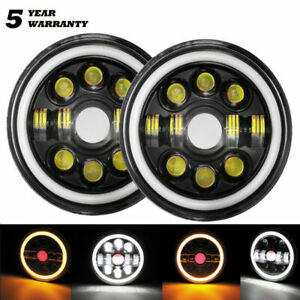 PAIR 7 Inch Round LED Headlight High Low Beam Angle Eyes For Jeep Wrangler JK AU