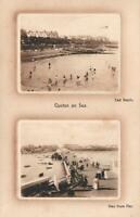 1913 VINTAGE CLACTON on SEA: EAST BEACH & VIEW from PIER POSTCARD - Denmark Hill