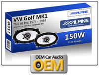 VW Golf MK1 Cabriolet Front Door speakers Alpine 4x6 car speaker kit 150W Max