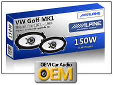 VW Golf MK1 Cabriolet Front Door speakers Alpine 4x6 car speaker kit 150W Max
