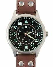 Vintage Military Field Watch with Leather Strap Luminous Glow In Dark Watches