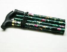 "Foldable Adjustable Folding Height Light Weight Walking Stick Cane 33""-37"" GREEN"