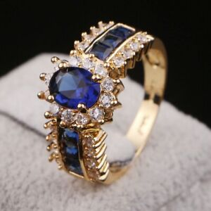 Costly Size 7 Blue Sapphire 18K Gold Filled Rings For Women Engagement Gift