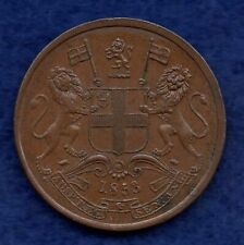 India, East India Co. 1853 Half Pice, Better Grade (Ref. c7392)