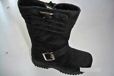 Team Honey-8 Girl Faux Wedge Mid Calf Black Leather Winter Boots Toddler Size 4