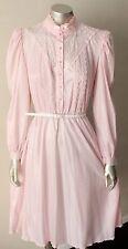 Retro Sax Lace Vintage 70s Secretary Satin Long Sleeve Pale Pink Swing Dress S
