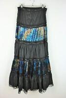 Vtg Grunge Steampunk Gypsy Goth Tiered Black Lace & Velvet Maxi Boho Skirt W28