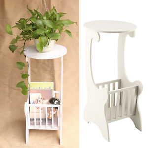 Chic Side Lamp Round Coffee Table Magzine Rack Bedroom White Wooden Durable