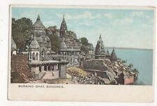 Burning Ghat Benares India Vintage Postcard 358a