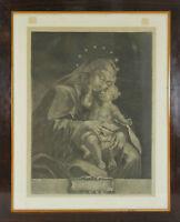 K3-030. VIERGE À L'ENFANT. GRAVURE SUR PAPIER. ELIAS RIDINGER. XVIIIE SIÈCLE.