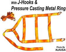 2x Car Dolly Wheel Net Tire Basket Tow Strap J-Hook Heavy Duty Tie Down Orange