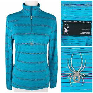 SPYDER Womens Small Pullover Shirt Glimmer Ski Base Layer Logo 1/4 Zip EUC