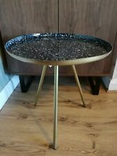 Brass Metal Patterned Round Tripod Side Table
