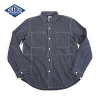 NON STOCK Vintage Striped Railway Engineer Shirts Men's Denim Casual Workshirt