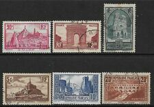 More details for france -1930/33 - iconic buildings set of 6 - used - sg 470a/475b - cat £100