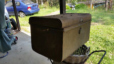 VINTAGE ANTIQUE METAL TIN BOX TRUNK STORAGE HINGED LID