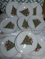 "LOT 12 Jamestown China Action Industries Christmas Tree SALAD PLATES 7 1/2"""