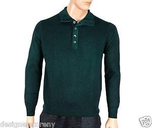 Cruciani 100% Cashmere Zipper/Button Down Turtleneck Sweater Green Size 52