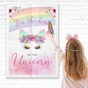 Pin the Horn on the Unicorn Games - Pin the Tail Game -  Unicorn Party Games
