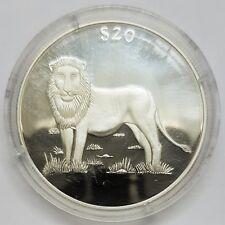20 dollars Liberia 2000 le lion Argent