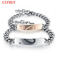 1 PC Half Heart Puzzle Couple Bracelets Stainless Steel Chain Men Women Jewelry