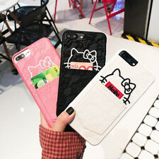For iPhone X 8 6S 7 Plus Cute Lace Hello Kitty Card Pocket Slot Soft Case Cover