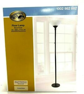 Hampton Bay Floor Lamp 71.5 inch Light, Black Stand with Frosted Shade