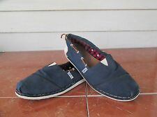 TOMS Sz 8W Navy Canvas Boat Shoes Women's Flats EUC