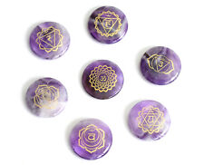 7 Pieces Round Ultrathin Natural Amethyst Palm Stone Engraved Chakra Symbols Set