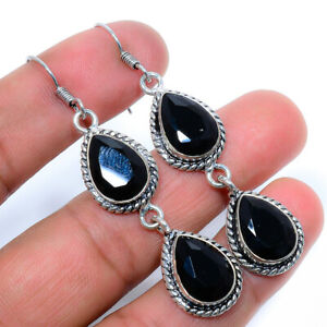 Faceted Black Onyx Handmade 925 Sterling Silver Jewelry Earring  VIE-972